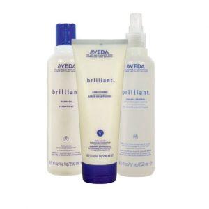 Avedas Brilliant-hair products at perfectly posh hair salon
