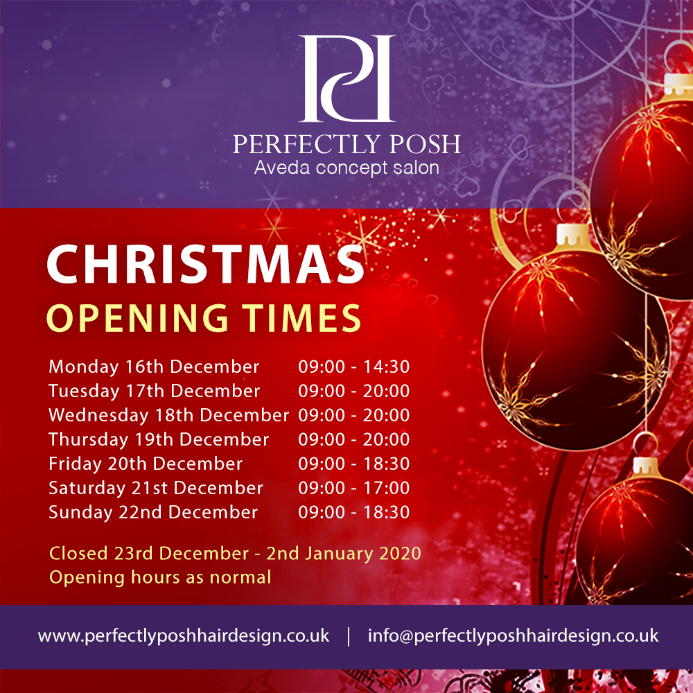Christmas opening hours at perfectly posh hair and beauty salon in hungerford